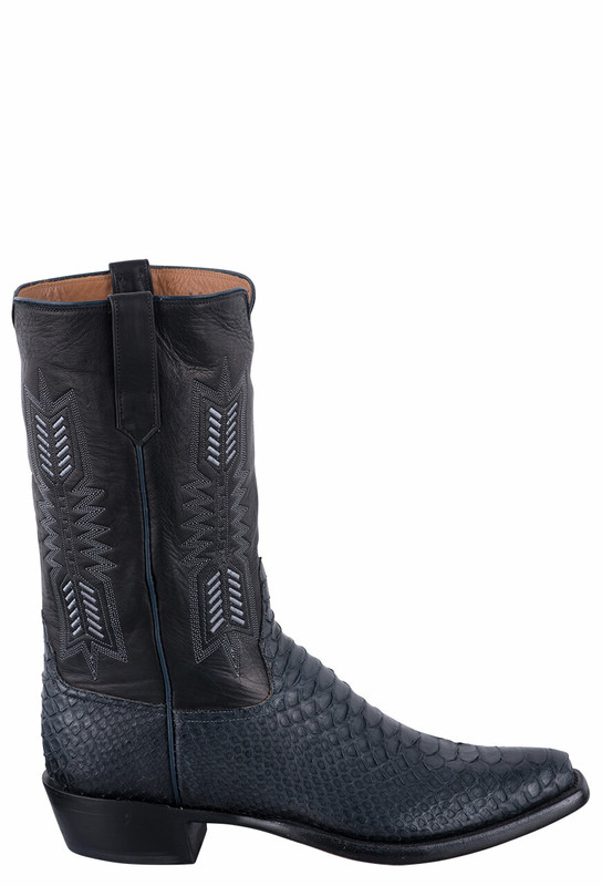 Rios of Mercedes Men's Black and Navy Python Boots - Side