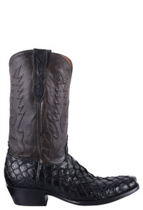 Black Jack for Pinto Ranch Men's Black Inverted Fish Boots - Side