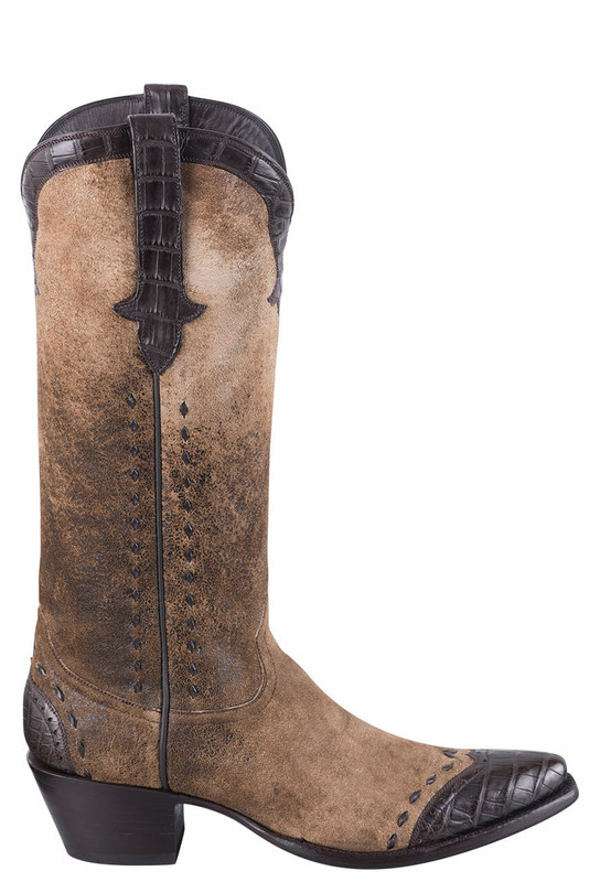 STALLION DISTRESSED VINTAGE KIDSKIN AND CAIMAN COWGIRL BOOTS