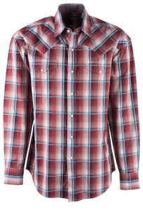 Stetson Terra Cotta Ombre Plaid Snap Shirt - Front
