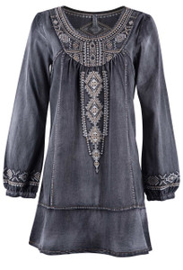Monoreno Long Sleeve Embroidered Denim Dress - Black - Front