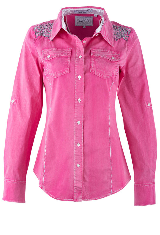 Grace in L.A. Pink Shirt With Crystals - Front