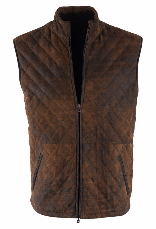 Madison Creek Distressed Brown Wasatch Quilted Reversible Vest - Front