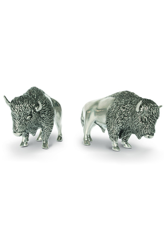Vagabond House Pewter Bison Salt and Pepper Set