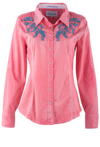 Grace in L.A. Coral Shirt With Turquoise Embroidery - Front