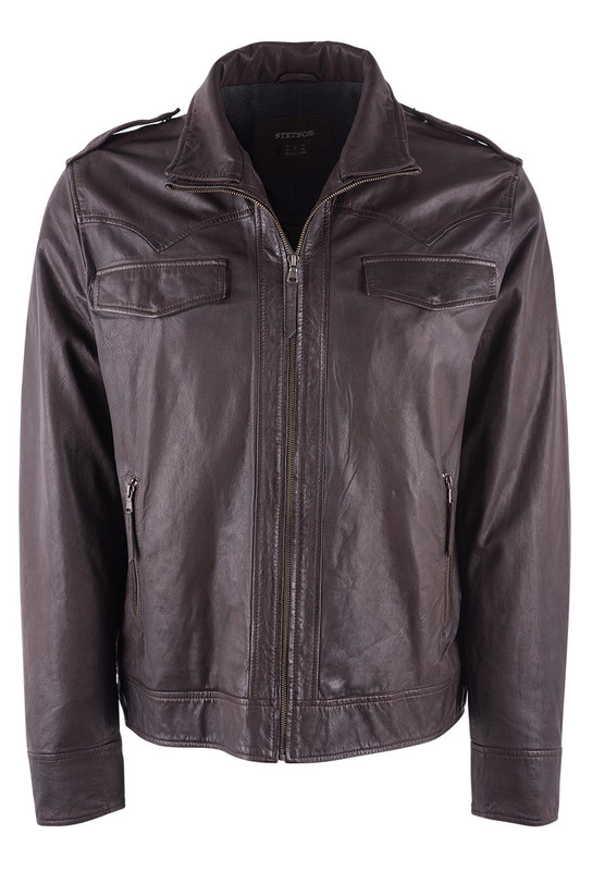 Stetson Brown Western Leather Jacket  - Front