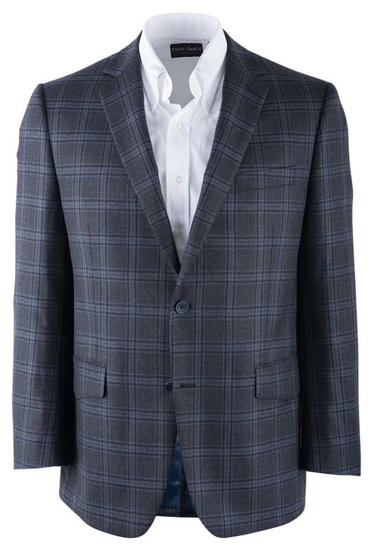 Pinto Ranch Navy Plaid Western Sport Coat - Front