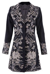 Twill Coat with Ivory Embroidery - Front