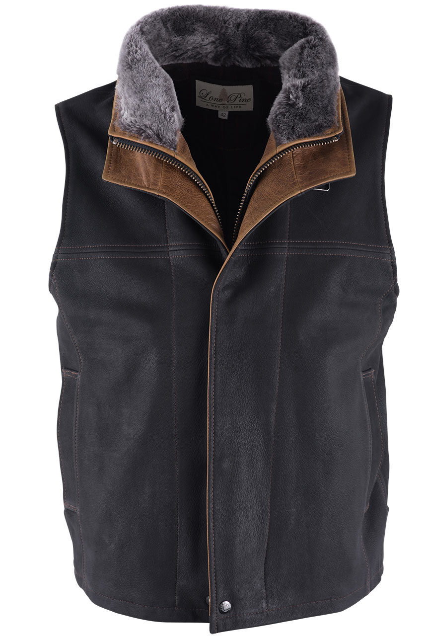 Lone pine black leather vest with detachable shearling pinto ranch jpg  870x1280 Lone pine leather bbf94c9a868b