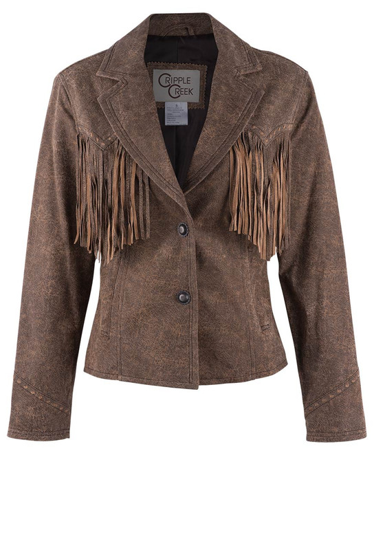 Cripple Creek Distressed Blazer With Fringe - Front