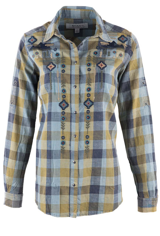 Ryan Michael Plaid Buffalo Print Shirt - Front