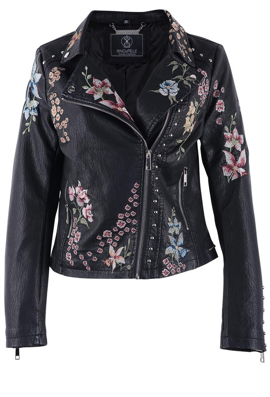 RINO & PELLE WOMEN'S AROYA FLORAL FAUX LEATHER MOTO JACKET