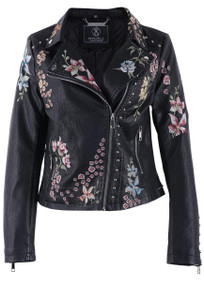 Rino & Pelle Aroya Floral Faux Leather Moto Jacket - Front