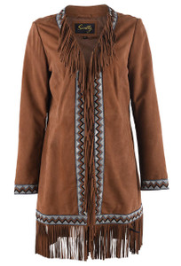 Scully Long Coat with Trim and Fringe - Front