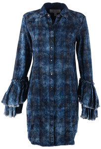 Ryan Michael Indigo Tiered Sleeve Plaid Tunic Dress - Front