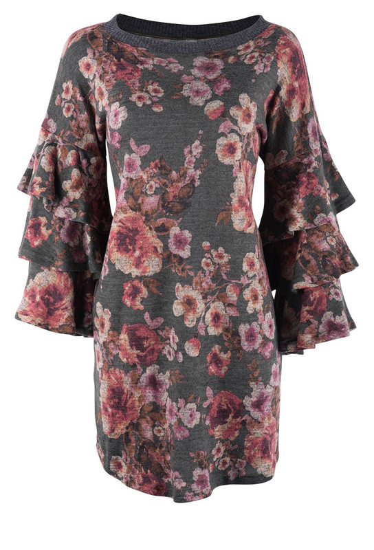 Ivy Jane Olive Floral Dress With Cabbage Sleeves - Front