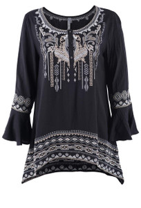 Monoreno Long Bell Sleeve Embroidered Woven Top - Front