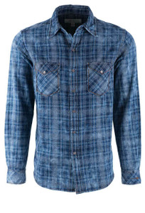 Ryan Michael Indigo Jaspe Plaid Snap Shirt - Front