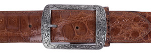 "Chacon Austin Engraved Sterling Silver 1 1/2"" Buckle"