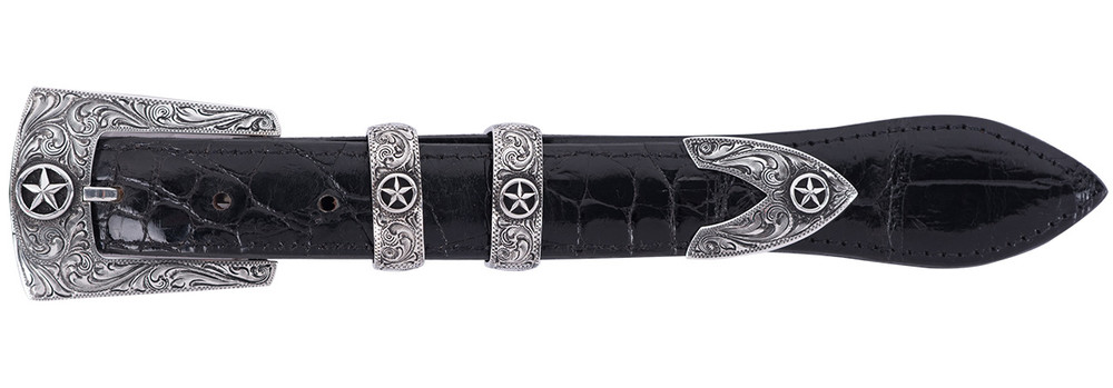 Chacon Engraved Star 4 Piece Buckle Set