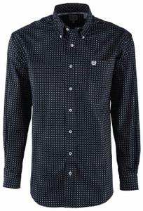 Cinch Neat Print Black Shirt - Front