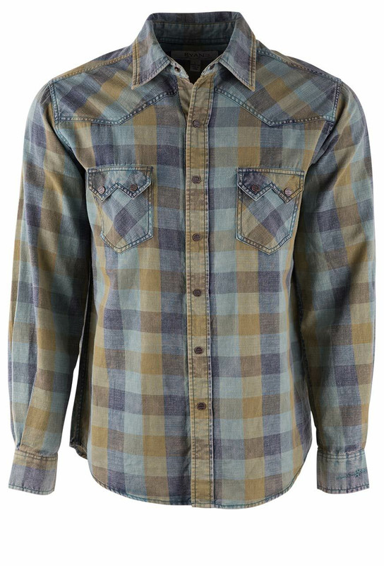 Ryan Michael Acid Washed Buffalo Plaid Shirt  - Front