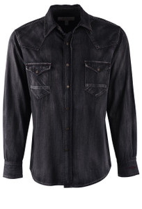 Ryan Michael Black Denim and Velvet Shirt - Front
