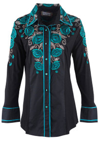 Vintage Collection Bess Top with Turquoise Roses - Front