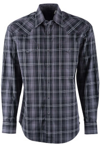 Stetson Black Charcoal Plaid Shirt - Front