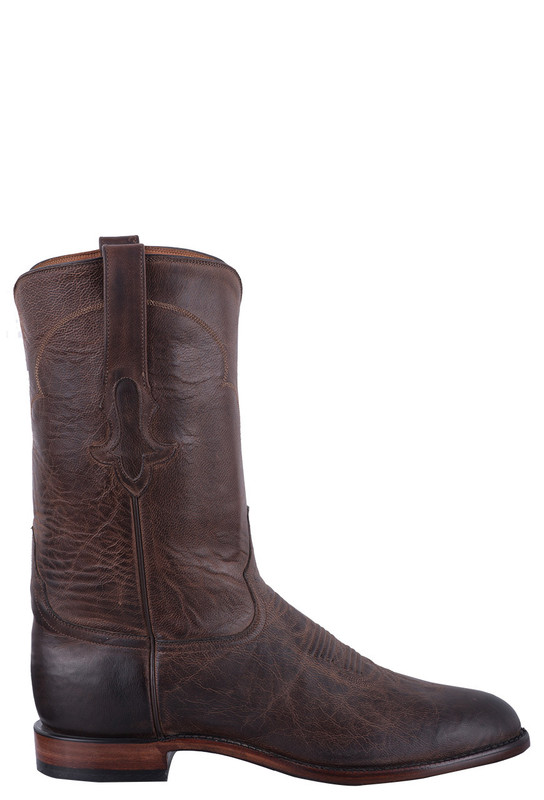TONY LAMA SIGNATURE SERIES GOAT SKIN ROPER BOOTS IN DARK CHOCOLATE