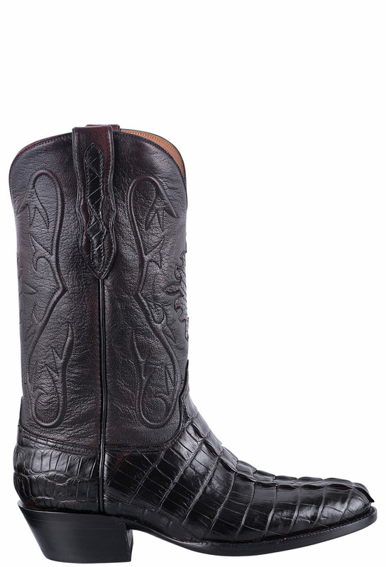 Black Jack Exclusive Black Cherry Hornback Alligator Tail Boots - Side