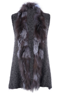 Metric Balled Yarn with Silver Fox Fur Vest  - Front