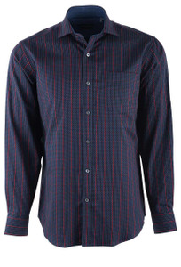Bugatchi Midnight Blue Plaid Shirt - Front
