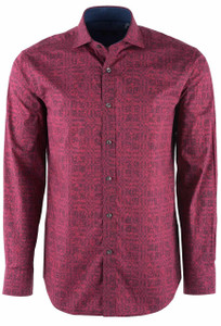 Bugatchi Merlot Shaped Fit Shirt - Front