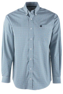 Cinch Celestial Blue Block Check Shirt - Front