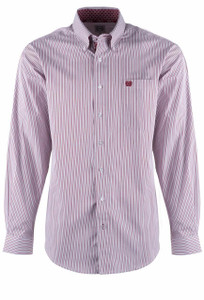 Cinch Rhubarb Griffin Gray Stripe Shirt - Front