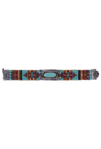 Peyote Bird Cowgirl With Turquoise Concho and Turquoise, Red, and Gold Beading