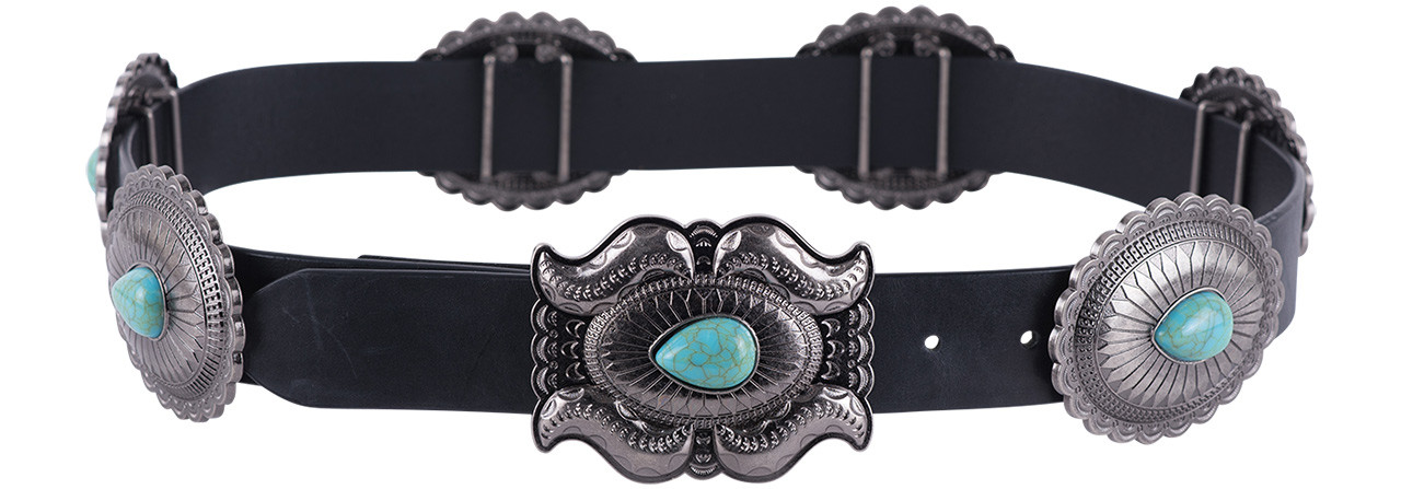 7bd32e7e9a7 Lucky and Blessed Women's Turquoise Teardrop Concho Belt