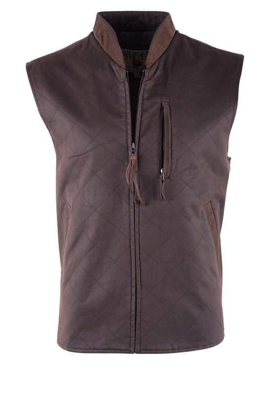 Madison Creek Dark Brown Twill Quilted Vest - Front