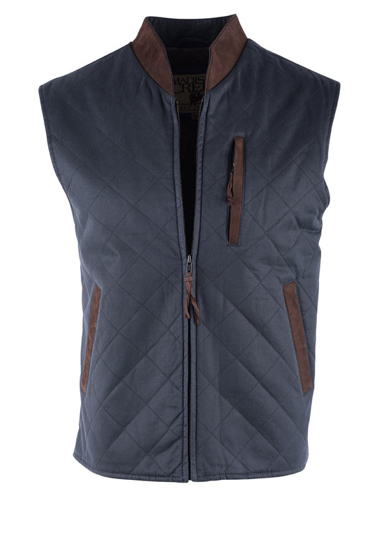 Madison Creek Navy Twill Quilted Vest - Front