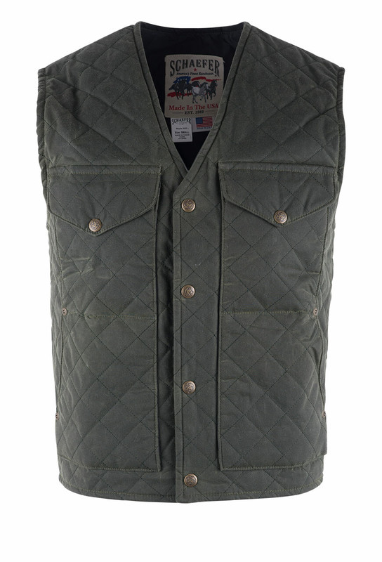 Schaefer Loden Quilted Range Wax Vest - Front