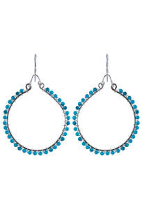 Brown Eyed Girl Sterling Silver Hoop Earrings with Gemstones - turquoise