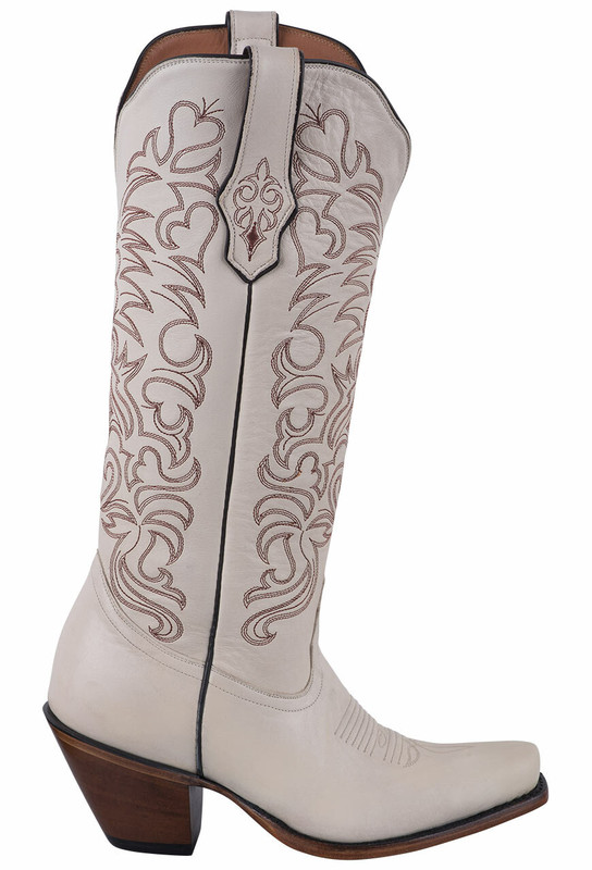 Tony Lama Signature Series Women's Ivory Mont Blanc Cowhide Boots  - Side