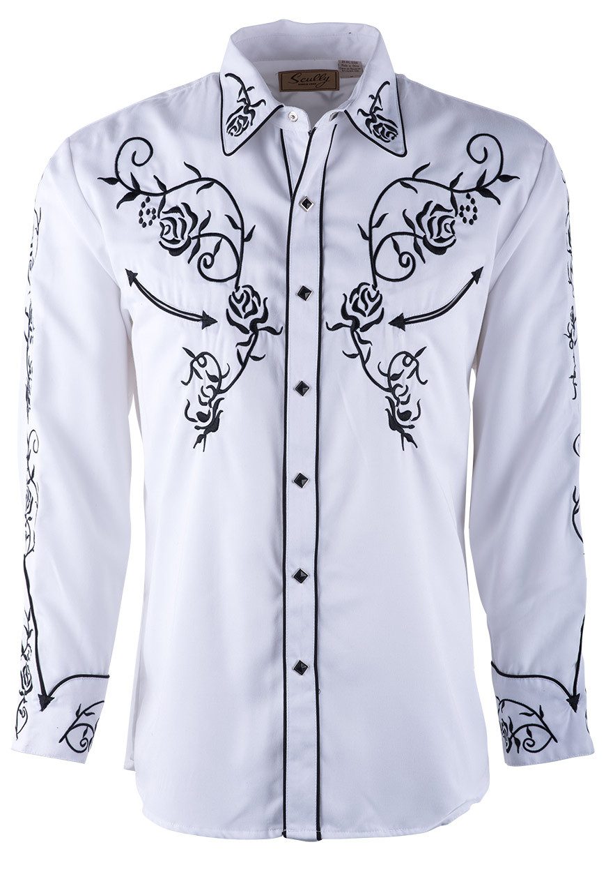 Scully Mens White Floral Embroidered Vintage Western Snap Shirt
