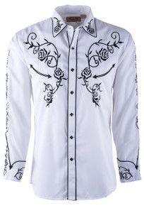 Scully Men's White Floral Embroidered Vintage Western Snap Shirt  - Front