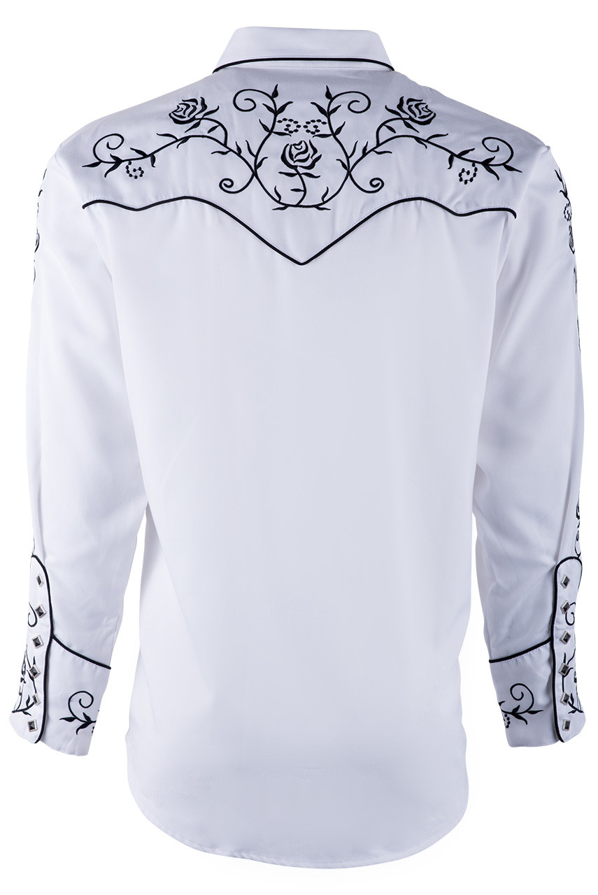 Scully Mens Floral Embroidered Vintage Western Shirt P706-Wht