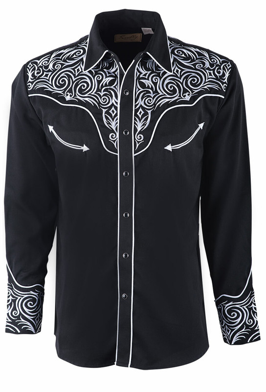 Scully Men's Black Scrambled Yokes Embroidered Vintage Western Snap Shirt - Front