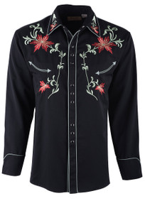 Scully Men's Black Floral Embroidered Vintage Western Snap Shirt  - Front