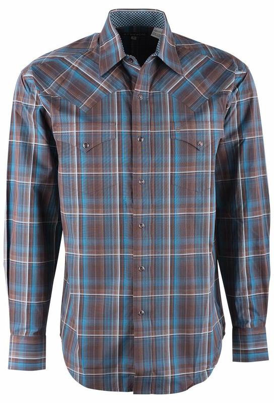 Stetson Brown Rain Plaid Shirt - Front