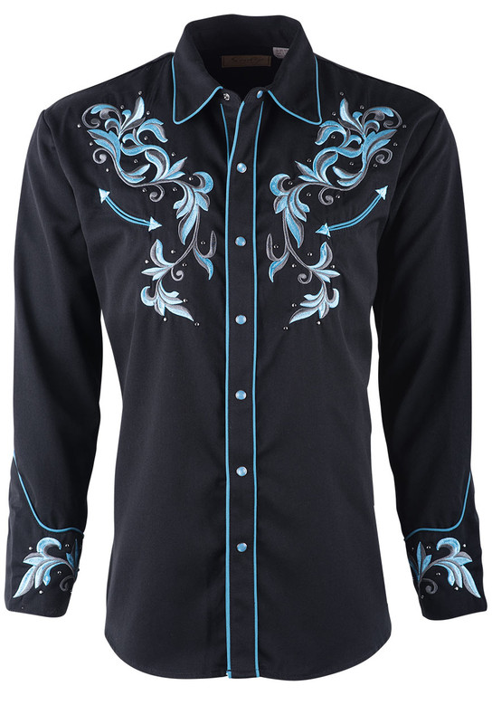 Scully Men's Black and Blue Filigree Embroidered Vintage Western Snap Shirt  - Front